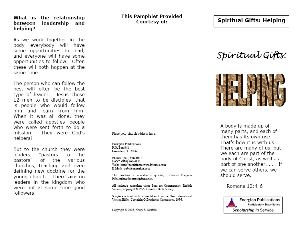 Spiritual Gifts:  Helping
