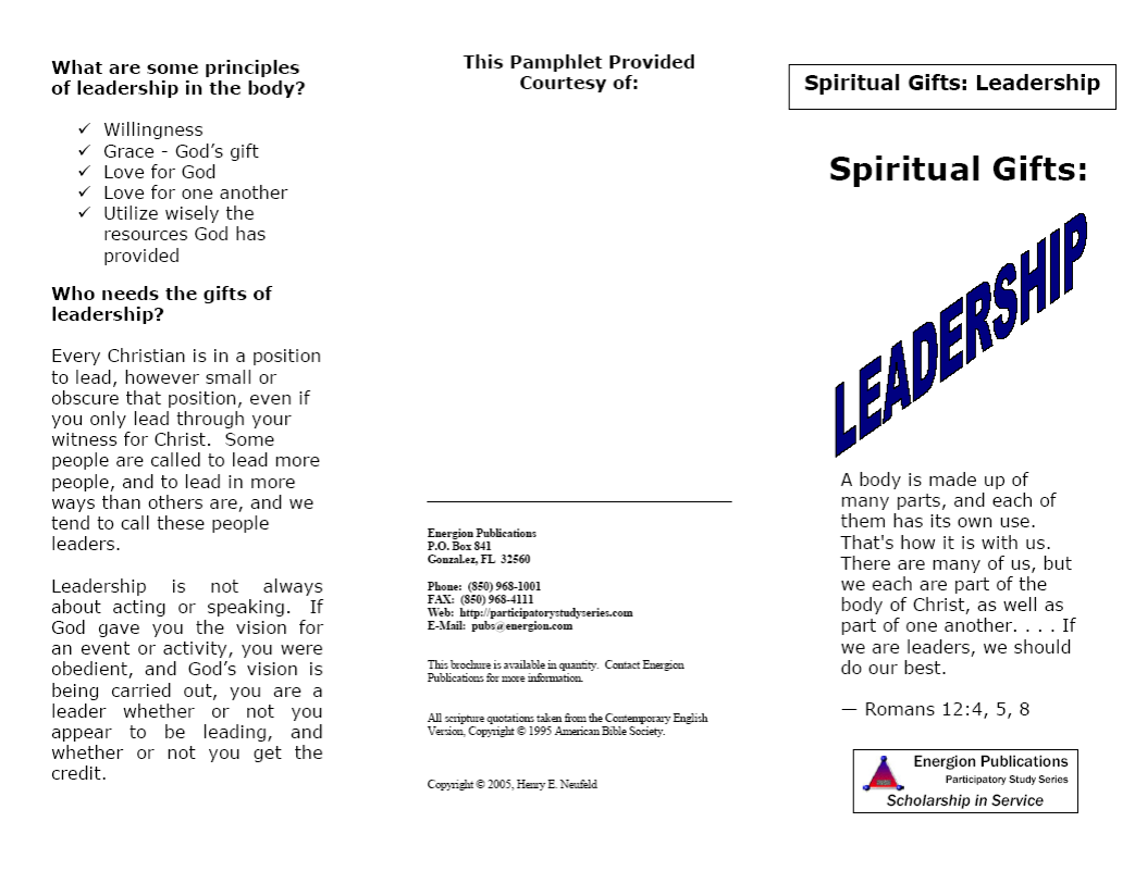 Spiritual Gifts:  Leadership