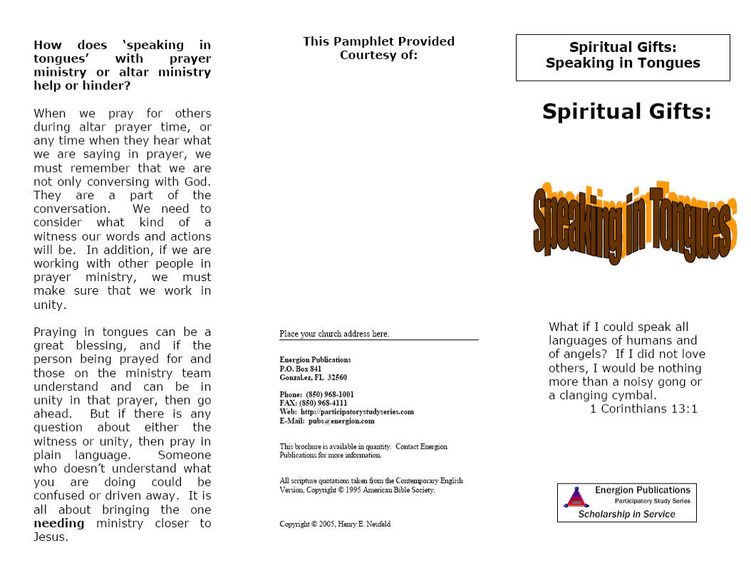 Spiritual Gifts:  Speaking in Tongues